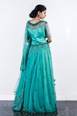 Blue Appliqued And Embroidered Net Lehenga