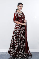 Maroon Applique And Stone Worked Velvet Lehenga