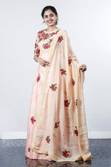Paris Peach Embroided Raw Silk Lehanka