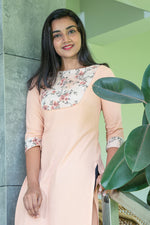 Paris Light Peach Rayon Embroidered Kurtha