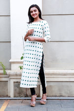 Cream and green ikkath kurti