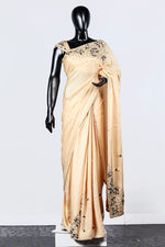 Paris Cream Embroidered Linen Satin Saree And Blouse