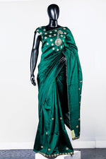 Green Embroidered Rawsilk Saree