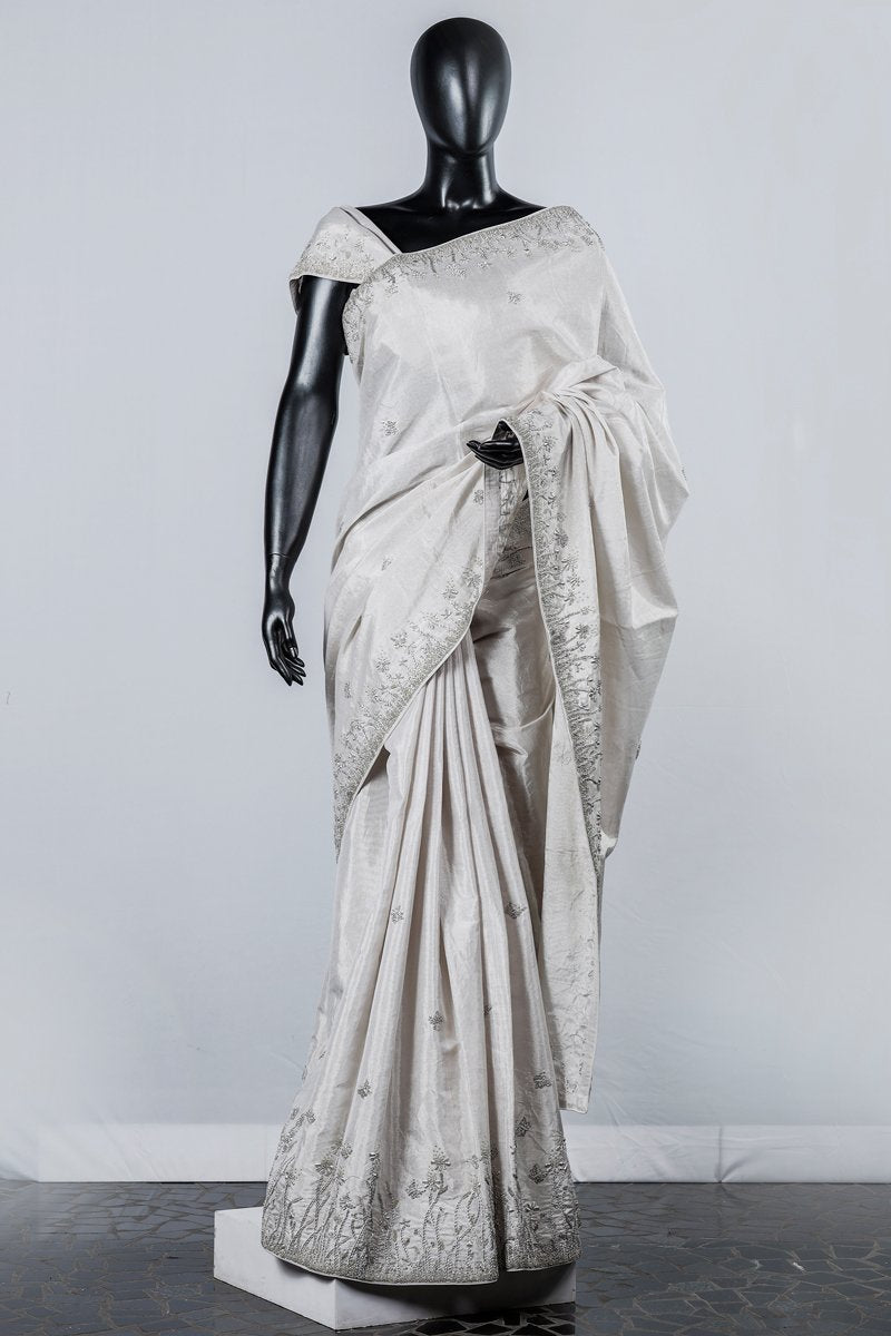 Paris Silver Embroidered Tissue Saree And Blouse