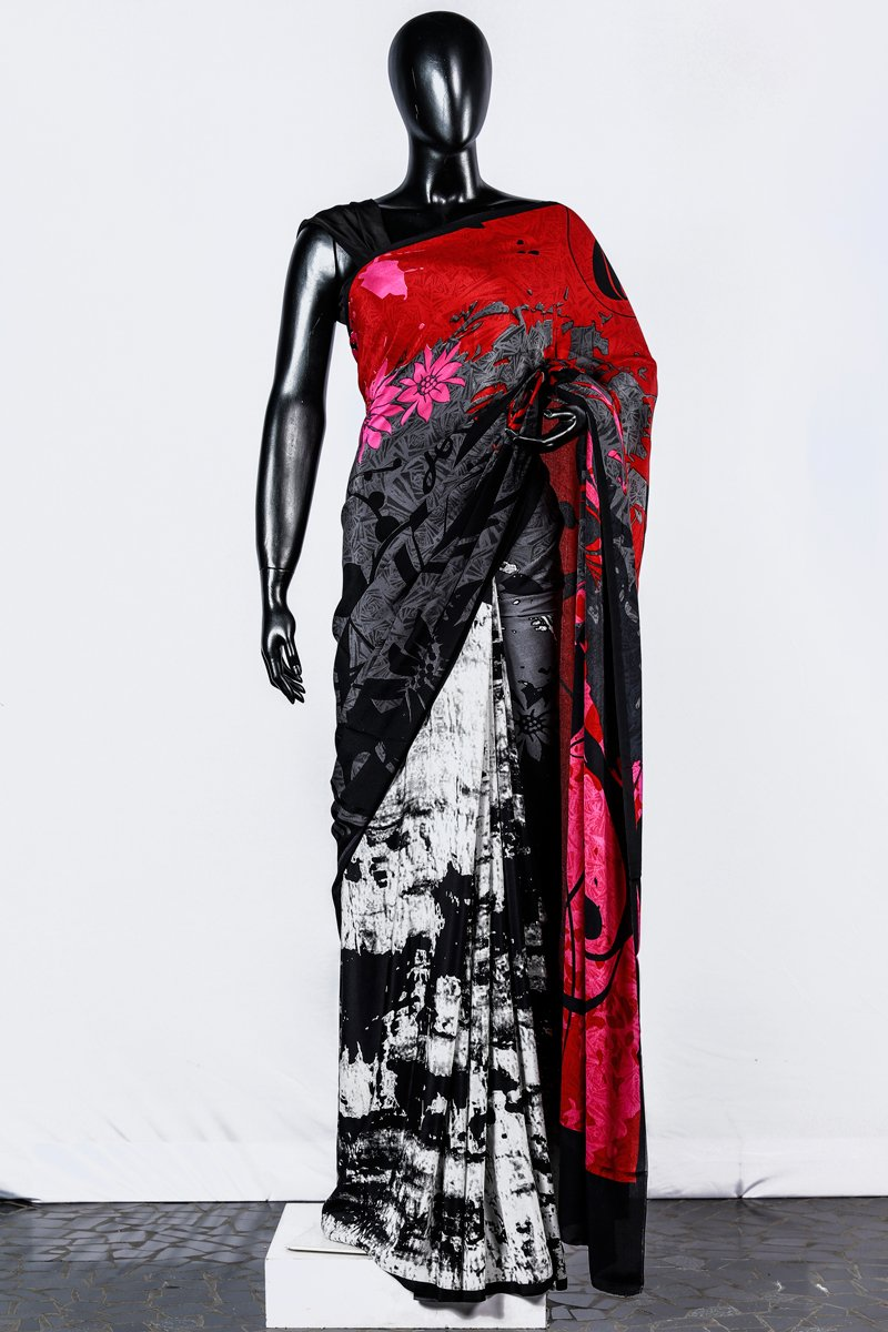 Paris Black- White Printed Crape Silk Saree And Blouse
