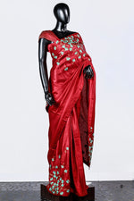 Paris Red Embroidered Linen Satin Saree And Blouse