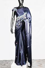 Paris Navy Blue Modal Satin Embroidered Saree And Blouse