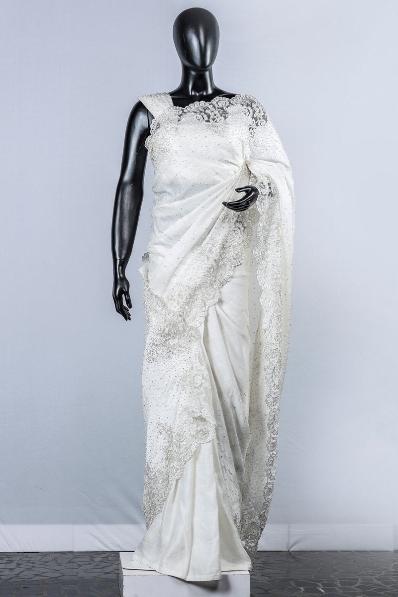 Paris Off White Linen Satin Embroidered Wedding Saree