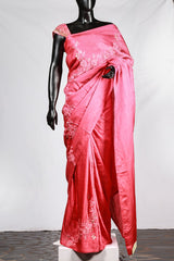 Paris Peachy Red Linen Satin Saree With Net Embroidery Blouse
