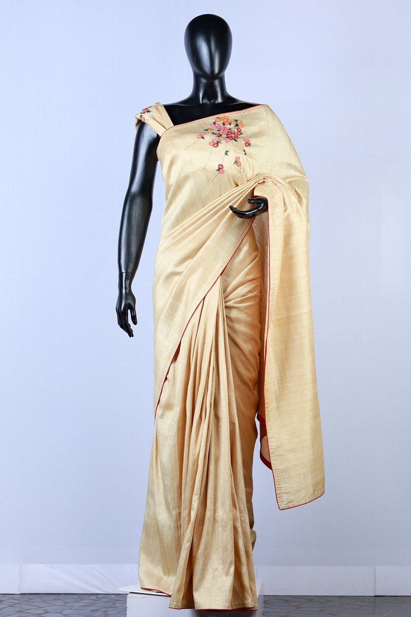 Golden Embroidered Rawsilk Saree