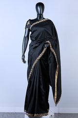 Black Embroidered Rawsilk Saree