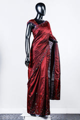 Maroon Embroidered Rawsilk Saree