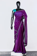 Paris Embroidered Violet Georgette Saree And Sky Blue Chanderi Blouse