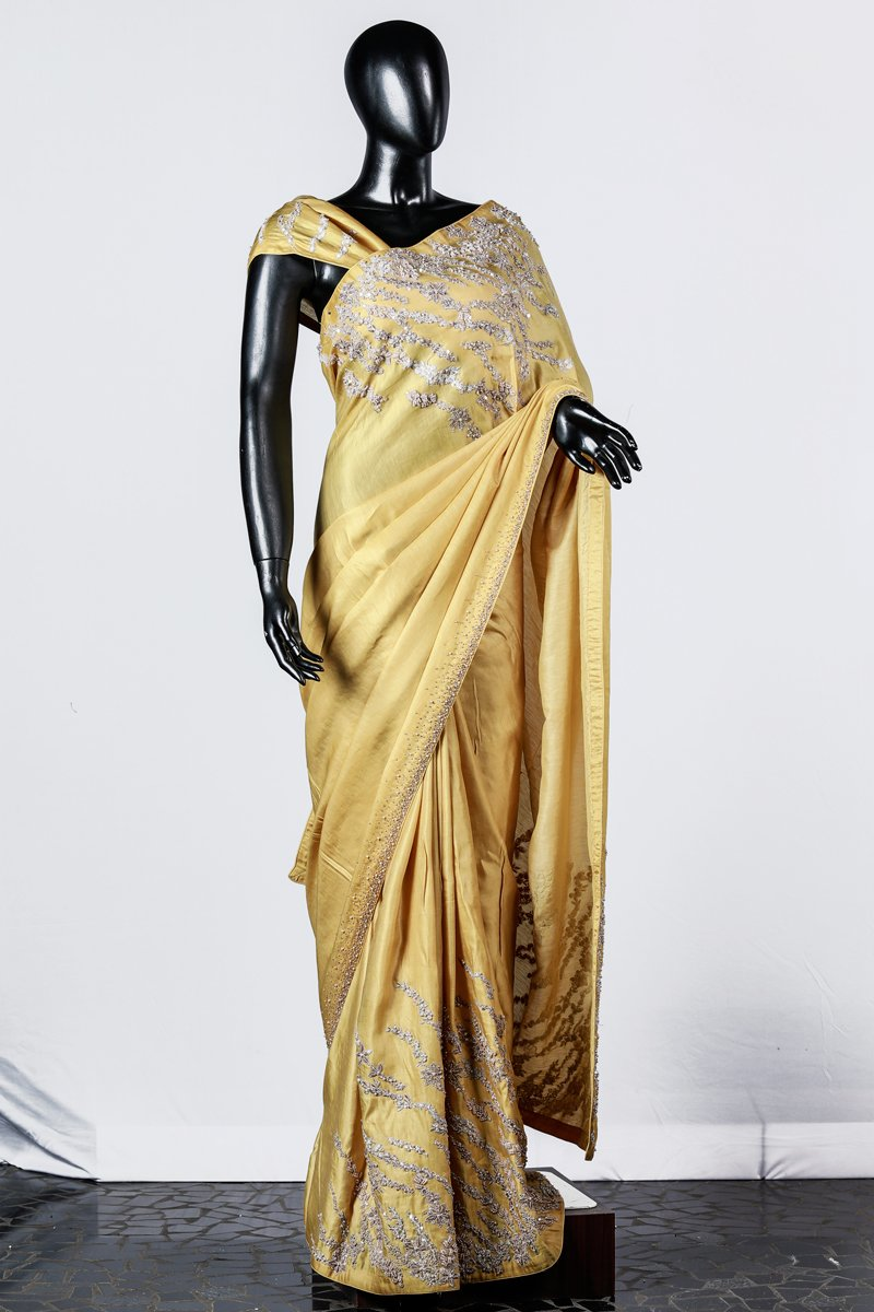 Paris Yellow Linen Satin Saree And Blouse With Golden Floral Appliques