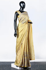 Paris Yellow Linen Satin Saree And Blouse With Floral Appliques