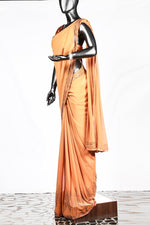 Paris Ochre Yellow Georgette Saree And Rawsilk Blouse