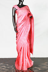 Paris Bright Peach Tusser Silk Embroidered Saree And Blouse