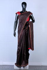 Brown Rawsilk Embroiderd Saree