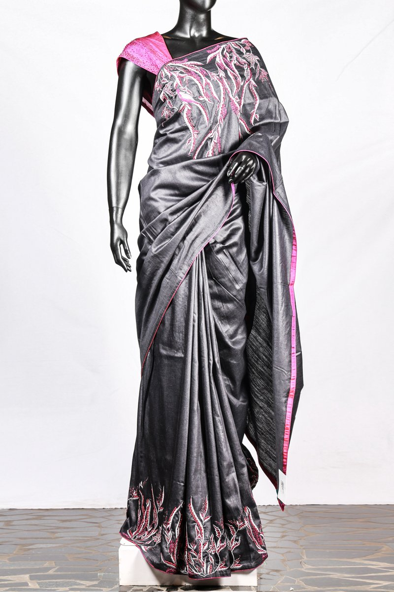 Paris Black Embroidered Tusser Saree And Rose Raw Silk Blouse