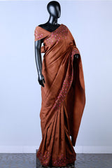 Brown Embroidered Rawsilk Saree