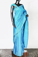 Blue Embroidered Rawsilk Saree