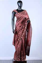 Brown Rawsilk Thread And Bead Embroidered Saree
