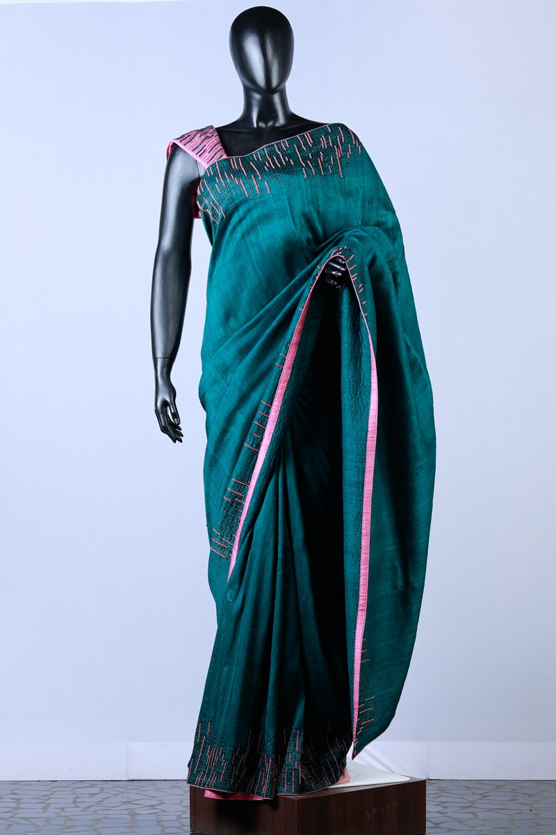 Deep Green Embroidered  Rawsilk Saree
