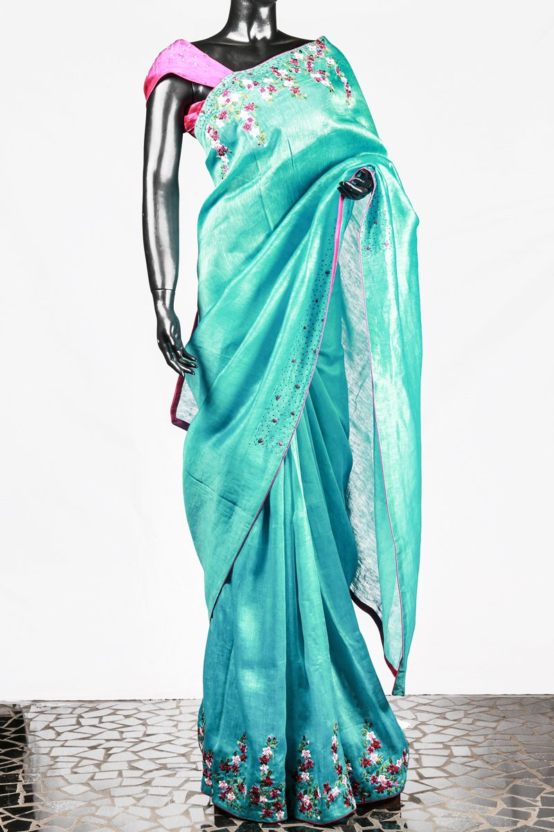 Paris Blue Floral Worked Linen Silk Saree And Pink Blouse