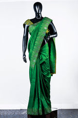 Green Rawsilk Embroidered Saree