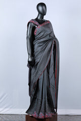 Grey Crispy Georgette Embroidered Saree