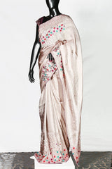 Dull Beige Crispy Georgette Embroidered Saree