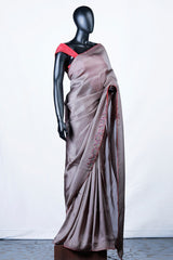 Grey Brown Crispy Georgette Embroidered Saree