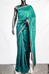 Paris Aruba Blue Embroidered Dupion Saree And Blouse