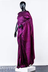 Medium Violet-red Embroidered Rawsilk Saree