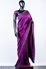 Purple Rawsilk Embroidered Saree