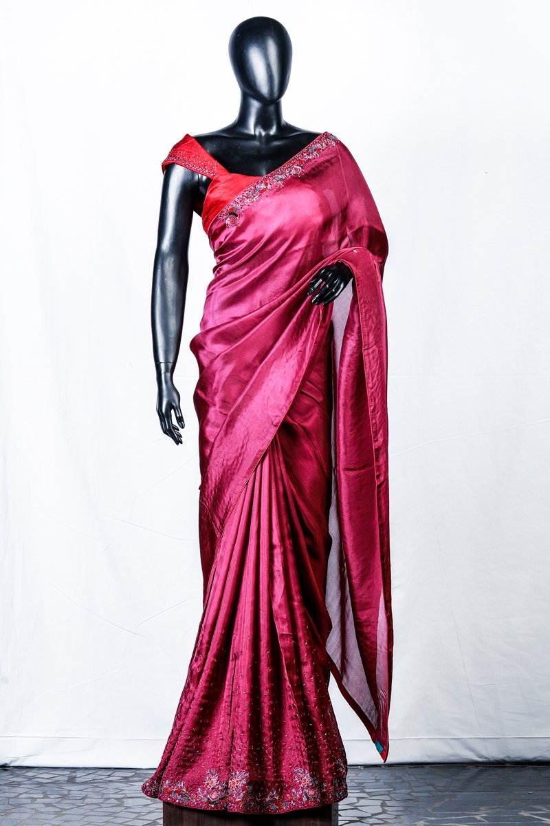 Berry Red Crispy Georgette Embroidered Saree