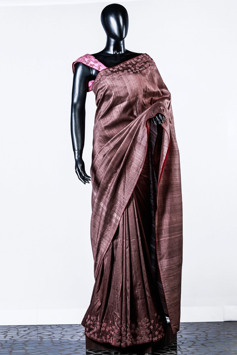 Brown Rawsilk Embroidered Saree