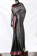 Black Crispy Georgette Thread Embroidered Saree