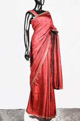 Brick Red Border Worked Dupion Silk Saree And Rawsilk Blouse