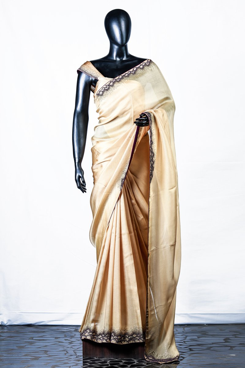 Yellow Crispy Georgette Embroidered Saree