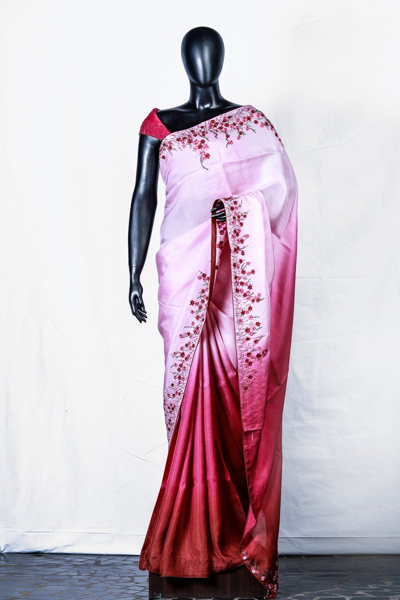 Pink Brown Shaded Crispy Georgette Embroidered Saree