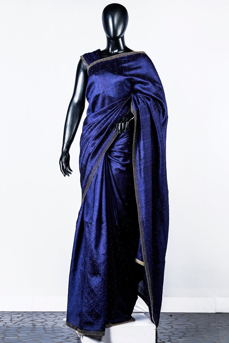 Navy Blue Embroidered Rawsilk Saree