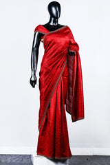 Red Rawsilk Embroidered Saree