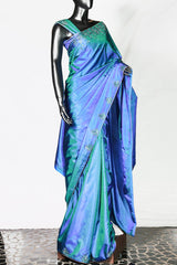 Paris Peacock Blue Double Tone Kanchipuram Silk Saree And Blouse