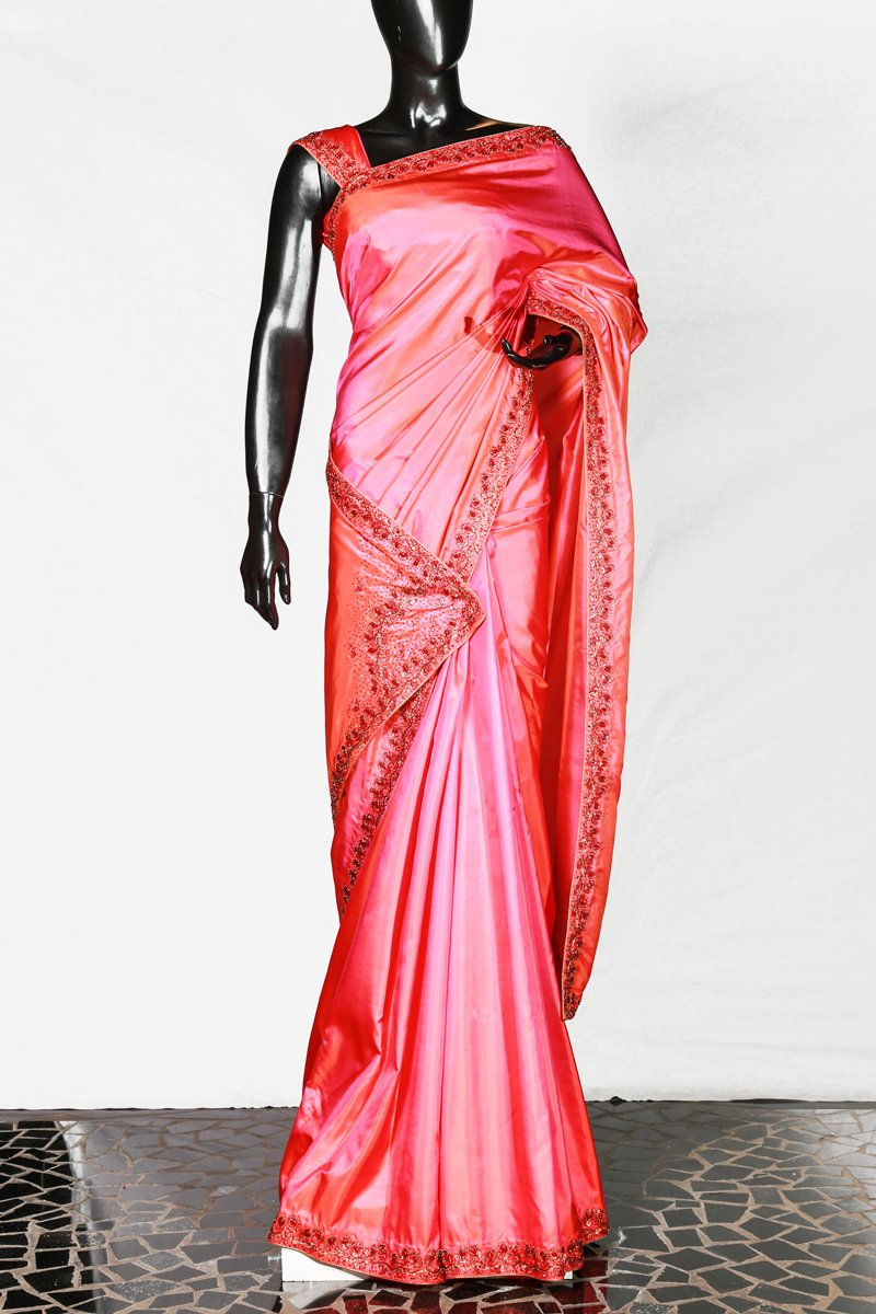 Double Tone Pink- Peach Border Worked Kanchipuram Silk Saree