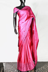 Paris Magenta Kanchipuram Embroidered Jacquard Print Saree And Blouse
