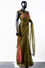Paris Olive-green Embroidered Organza Saree And Rawsilk Blouse