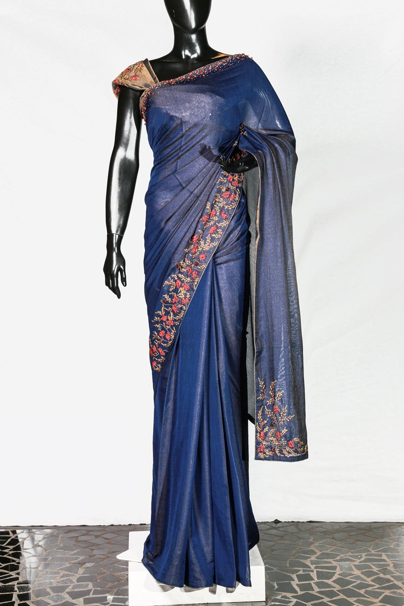 Paris Navy Blue Floral Embroidered Crispy Georgette Saree And Antic Gold Tissue Blouse