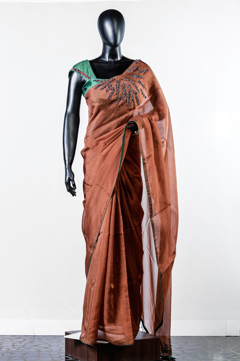 Brown Organza Embroidered Saree