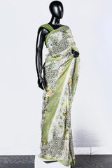 Paris Green Printed Chiffon Saree And Chanderi Blouse